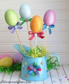 Easter Centerpiece made from Dollar Store goods  {ribbonsandglue.com}