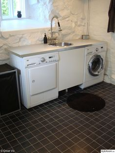 Laundry Area, Laundry Closet, Laundry In Bathroom, Build My Own House, Laundry Room Inspiration, Basement Storage, Compact Living, Laundry Room Organization, Concrete Floors