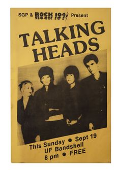 One of the most critically acclaimed bands of the 1980's, the Talking Heads were inducted into the Rock and Roll Hall of Fame in 2002. Description from goldinauctions.com. I searched for this on bing.com/images