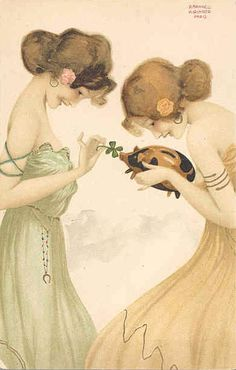 Girls with good luck charms - Raphael Kirchner - WikiArt.org