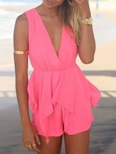 Shop Pink Peplum Romper Playsuit from choies.com .Free shipping Worldwide.