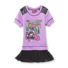 Monster High- -Girl's Short-Sleeve Graphic Sweatshirt
