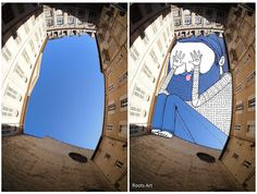 """French artist Thomas Lamadieu creates his """"sky art"""" by combining photography and line drawings. Inspired by the way the sky peaks through skyscrapers, Lamadieu illustrates quirky cartoons within these spaces."""