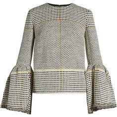 Roksanda Truffaut bell-sleeved basket-weave top (1,535 CAD) ❤ liked on Polyvore featuring tops, roksanda, black white, white bell sleeve top, bell sleeve tops, white flared sleeve top and white top