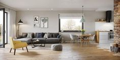 Zdjęcie projektu Murator C333j Miarodajny - wariant X WAJ3747 Home Decor Kitchen, Kitchen Design, Living Room Decor Cozy, Small Places, Small House Design, Home Design Plans, Design Case, Small Apartments, Home Decor Inspiration