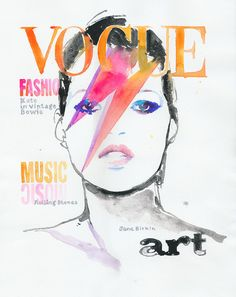 Print of Fashion Illustration, Watercolor Illustration - Vintage Kate Moss on the cover of Vogue