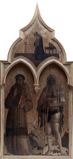 """BEATO ANGELICO - Pala """"Compagnia di San Francesco"""", dettaglio San Francesco d'Assisi, Sant'Onofrio, Madonna annunciata, nella cuspide  - 1429 - Museo N. di San Marco, Firenze"""