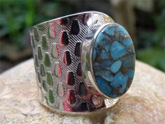 HANDCRAFTED 925 SILVER RING FREE SIZE BLUE COPPER TURQUOISE JEWELLERY