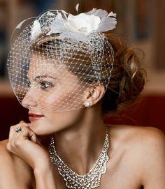 Vintage short / bird cage veil. #celebritystyleweddings.com #celebstylewed