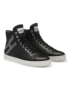 #HOGANREBEL Women's Spring - Summer 2013 #collection: leather High-Top #sneakers R141 with 3-dimensional effect print. The studs on the side give shape to the logo.