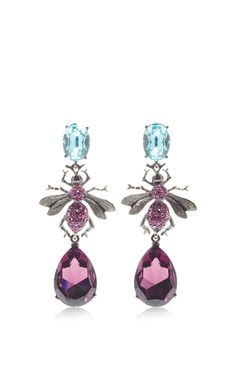 Celeste Crystal Bee Long Drop Earring by OSCAR DE LA RENTA for Preorder on Moda Operandi