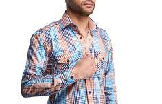 Blue Navy and Orange Checkered Shirt Cow-Boy  $89.90 Men's Fashion XOOS French Shirts