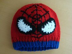 Spiderman Beanie, Knit Spiderman Hat, Child Size