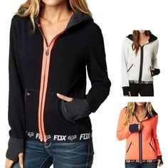 Fox Racing Race Women's Ladies Fall Zip Up Casual Top Sweatshirt Hoodie