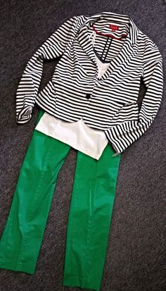 A pop of color AND stripes? It's two of our favorite things in one outfit....can't beat that!