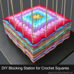 DIY-Blocking-Station-Crochet-Squares Clever, clever, clever & oh so handy. No reason why it couldn't also be used for knitted squares.