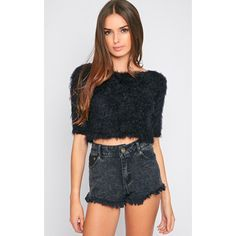 Jess Black Fluffy Jumper ($9.36) ❤ liked on Polyvore featuring tops, sweaters, black, jumpers sweaters, leather jumper, leather tops, leather sweater and jumper top