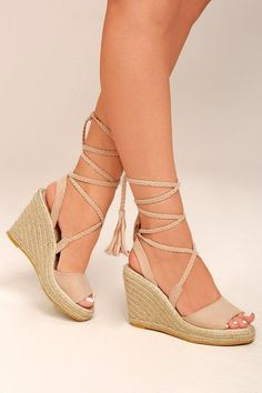 ab56a762f986 Cali Beige Suede Lace-Up Espadrille Wedges