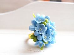 Forget Me Not Ring Adjustable Flower Rings forget me by IrynaFleur