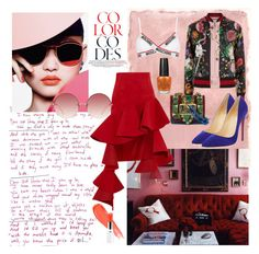 """""""color codes"""" by the-amj ❤ liked on Polyvore featuring Rothko, Jacquemus, Linda Farrow, Moschino, Gucci, Christian Louboutin, Burberry and OPI"""