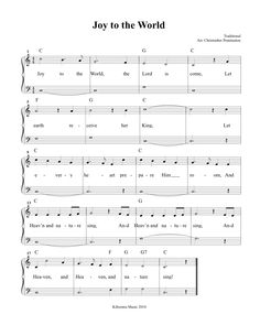 Joy To The World Sheet Music and Song for Kids!