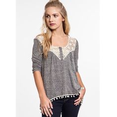 """Serenity"" Grey Crochet Sweetheart Top 3/4 sleeves crochet collar top with a sweetheart neckline. Only one color available. True to size but a loose fit. Brand new. NO TRADES DON'T ASK Bare Anthology Tops Tees - Long Sleeve"