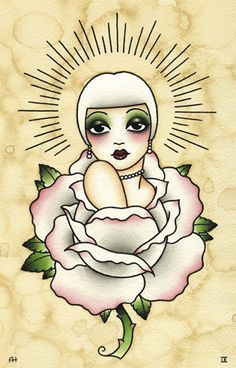 Angelique Houtkamp pink rose flapper tattoo flash