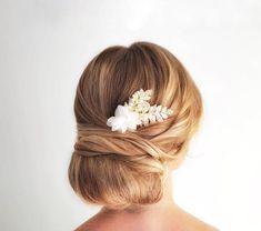 Gold Leaf Hair Comb Ivory Flower Hair Piece Wedding Hair