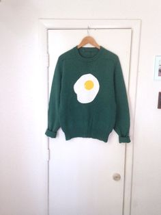 fried egg sweater / teal green / unisex / oversize by butterbabes