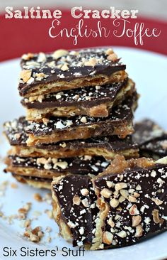 Saltine Cracker English Toffee- this stuff is so addicting! Makes a great neighbor gift. SixSistersStuff.com #Christmas #treat
