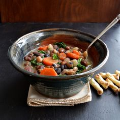 16 Bean and Kale Soup - taste love and nourish  -  For a veggie version, instead of the ham bone and water, use the herb bundle, water or light veggie broth, and smoked paprika (or chipotle powder, if you like a spicy kick)