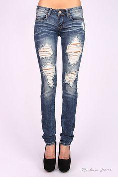Machine Jeans Destroyed Skinny Medium Wash w/ Back Button Detail