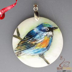 HAND PAINTED BLUE BIRD NATURAL WHITE STONE DIY PENDANT FOR NECKLACE ZH20 00156 #ZL #PENDANT