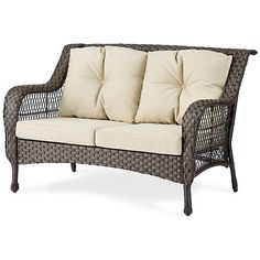 Improvements Coventry Resin Wicker Loveseat ($200) ❤ liked on Polyvore featuring home, outdoors, patio furniture, all weather furniture, coventry resin wicker sofa, outdoor furniture, patio chair, patio loveseat, patio sofa and wicker side table