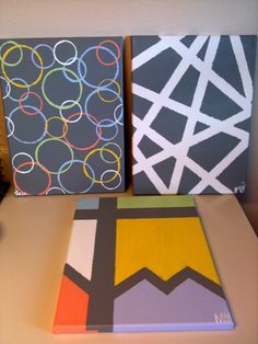 DIY canvas painting. Tape, paint, & cups. - like the cups idea as a background for a word maybe?