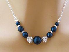 Blue Pearl Necklace, Pearl Rhinestone Bridal Necklace, Blue Bridesmaid Necklace…