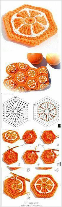Copertina arancio baby uncinetto mattonella