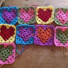 Crochet rainbow blanket in progress