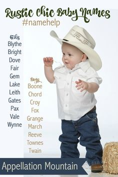 Rustic chic baby names, all one syllable and pretty rare! Names for boys and girls, plus some that work for both.