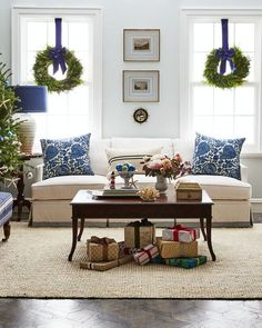 Classic coastal Christmas decor with touches of Chinoiserie and organic style with wood furnishings and natural fiber accents.