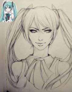 Drawing Artist, Hatsune Miku, Female Characters, Art Tutorials, Pencil Drawings, Art Sketches, Coloring Pages, Character Design, Doodles