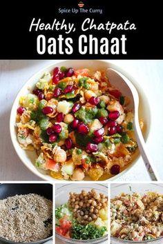 Oats chaat recipe (Healthy chaat recipe) Oats bhel, Indian o Healthy Salad Recipes, Healthy Breakfast Recipes, Healthy Snacks, Vegetarian Recipes, Cooking Recipes, Cooking Tips, Oats Recipes Indian, Bhel Recipe, Chats Recipe