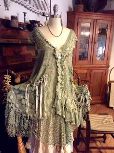 Luv Lucy Crochet Dress Green Goddess boho by LuvLucyArtToWear