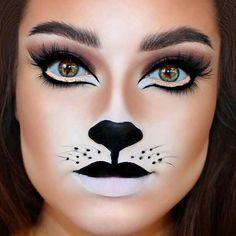 Panda Makeup, Cat Face Makeup, Bear Makeup, Black Cat Makeup, Black And White Makeup, Nose Makeup, Makeup Eyebrows, Contour Makeup, Cat Halloween Makeup