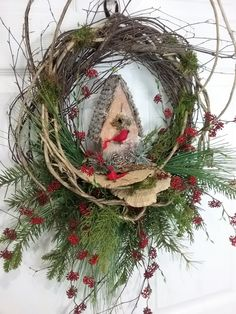Christmas Wreath, Birch Wreath, Christmas Wreath with Birdhouse, Winter Wreath, Holiday Wreath by HeatherKnollDesigns on Etsy