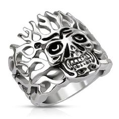 Harley Biker 316L Stainless Steel Skull and Flames Ring Biker Jewelry R102 #Spikes #Band