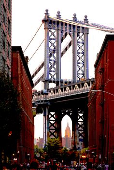 Looking through the Manhattan Bridge from DUMBO (Down Under Manhattan Brooklyn Overpass)  photo by Steven Gruber Sept/2011