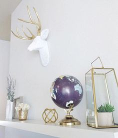 """We love how has incorporated The Alfred faux deer in her """"shelfie"""" He looks so cute! Thank you for sharing! Taxidermy Decor, Faux Taxidermy, Stag Animal, White Deer Heads, Fake Walls, Faux Deer Head, Deer Species, Mantle Decorating, Stag Deer"""