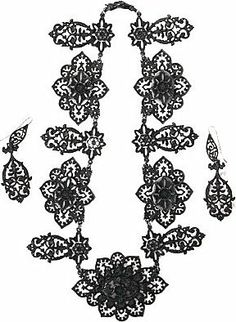 Ornate Berlin Iron necklace and earring set - House of Harps: jewellery
