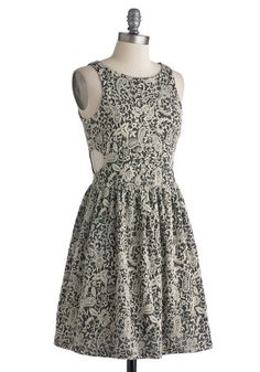 Savvy Chic Dress, #ModCloth Love, love, love the fabric! So classy and interesting. Could see wearing this to many events.